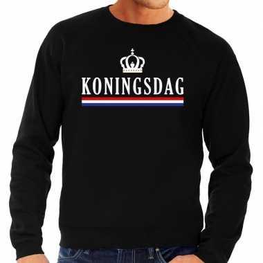 Zwart koningsdag sweater voor heren