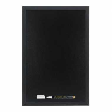 Zwart krijtbord met zwarte rand 40 x 60 cm inclusief stift