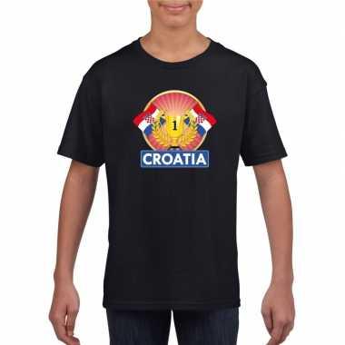 Zwart kroatie supporter kampioen shirt kinderen