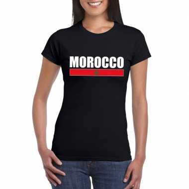 Zwart marokko supporter t-shirt voor dames