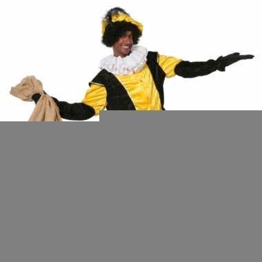 Zwart met geel pieten kostuum