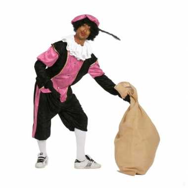 Zwart met roze pieten kostuum