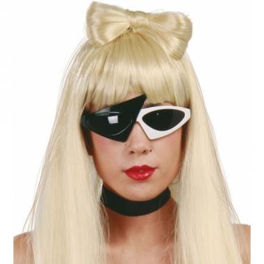 Zwart met witte popster zonnebril