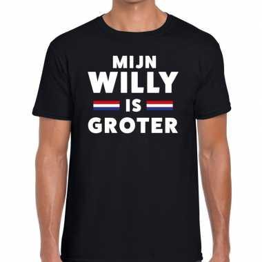 Zwart mijn willy is groter t-shirt voor heren
