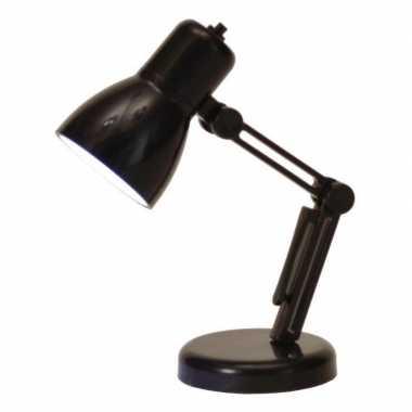 Zwart mini bureau lampje op batterij 9 cm