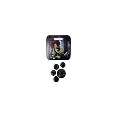Zwart/olie glazen knikkers 21 stuks