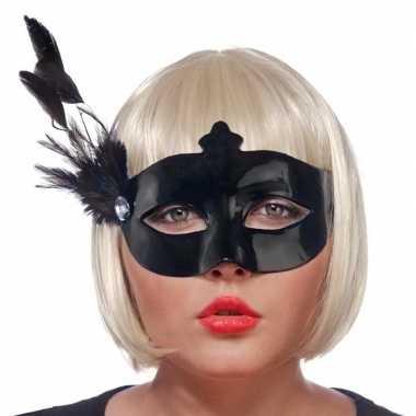 Zwart oogmasker met veren voor dames