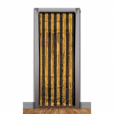 Zwart/oranje deurgordijn folie 240 cm