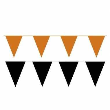 Zwart/oranje feest punt vlaggetjes pakket 120 meter