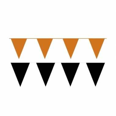 Zwart/oranje feest punt vlaggetjes pakket 60 meter