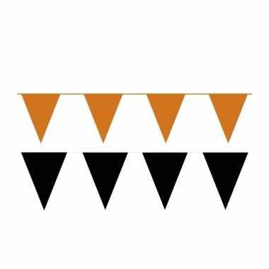 Zwart/oranje feest punt vlaggetjes pakket 80 meter