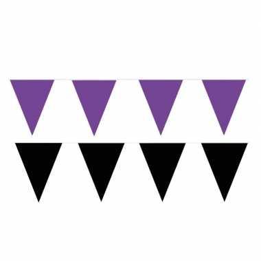 Zwart/paarse feest punt vlaggetjes pakket 120 meter
