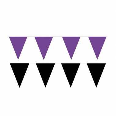 Zwart/paarse feest punt vlaggetjes pakket 60 meter