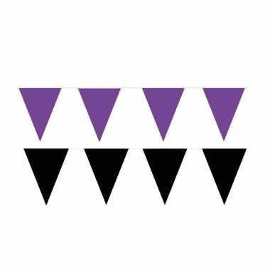 Zwart/paarse feest punt vlaggetjes pakket 80 meter