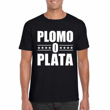 Zwart plomo o plata shirt voor heren