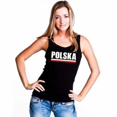 Zwart polen supporter singlet shirt/ tanktop dames