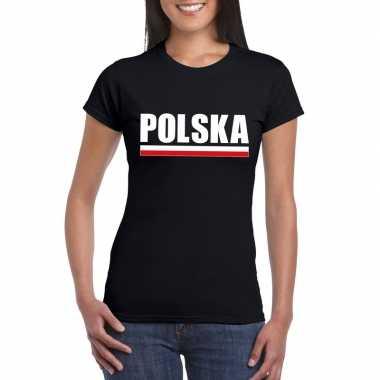 Zwart polen supporter t-shirt voor dames