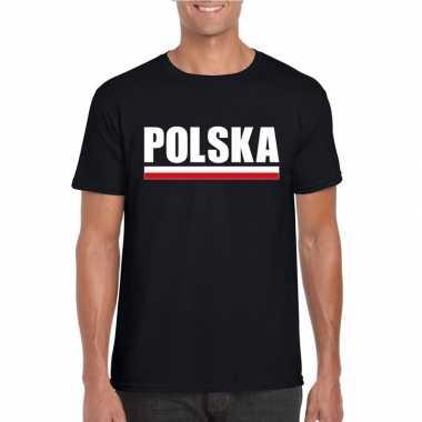 Zwart polen supporter t-shirt voor heren
