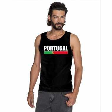 Zwart portugal supporter singlet shirt/ tanktop heren