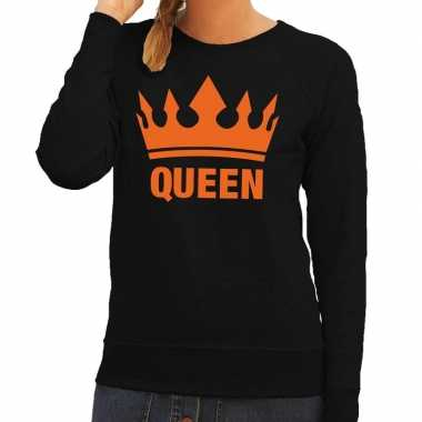 Zwart queen met kroon sweater dames