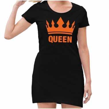 Zwart queen oranje kroon jurkje dames