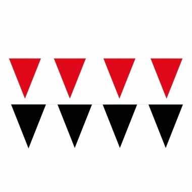 Zwart/rode feest punt vlaggetjes pakket 200 meter