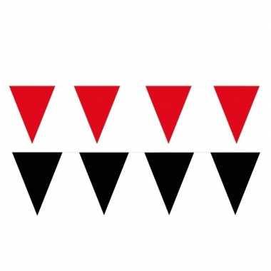 Zwart/rode feest punt vlaggetjes pakket 80 meter