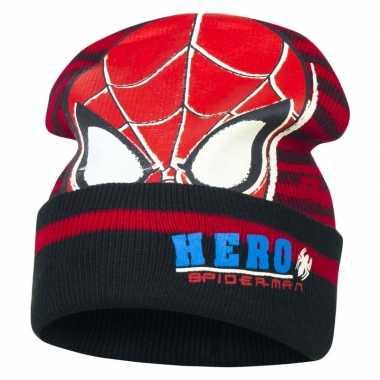 Zwart/rode spiderman muts voor jongens