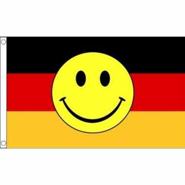 Zwart rood gele vlag met smiley 90 x 150 cm