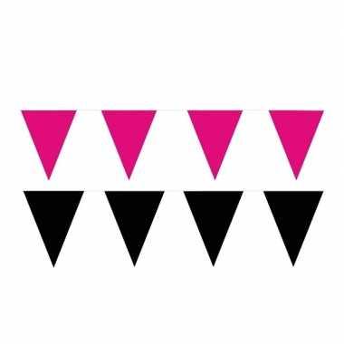 Zwart/roze feest punt vlaggetjes pakket 120 meter