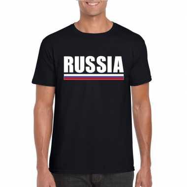 Zwart rusland supporter t-shirt voor heren