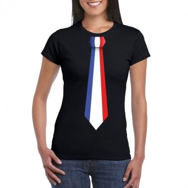 Zwart t-shirt met frankrijk vlag stropdas dames trend