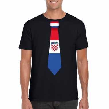 Zwart t-shirt met kroatie vlag stropdas heren