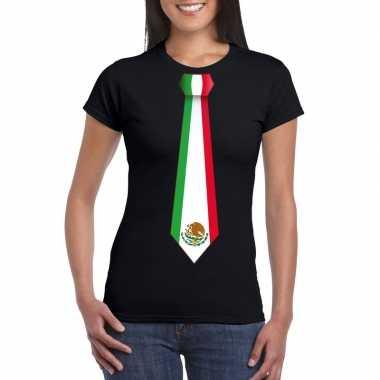 Zwart t-shirt met mexico vlag stropdas dames