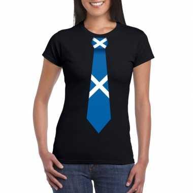 Zwart t-shirt met schotland vlag stropdas dames