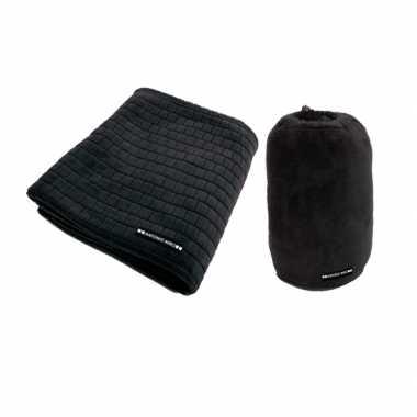 Zwarte fleecedeken met blokjespatroon 125x150cm trend