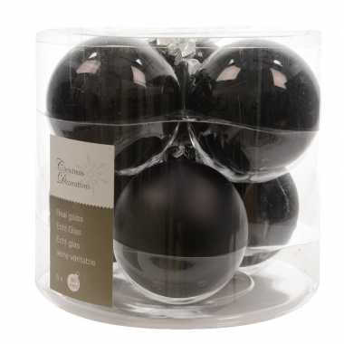 Zwarte kerstversiering kerstballen set 12 stuk glas 8 cm