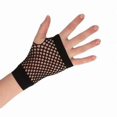 Zwarte korte visnet handschoenen voor volwassenen trend
