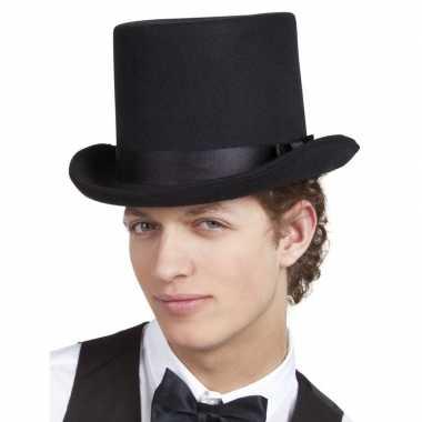 Zwarte luxe hoge hoed voor heren