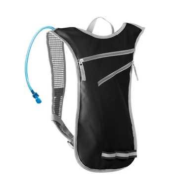 Zwarte sport rugtas/rugzak met waterzak 2 liter 32 x 50 cm