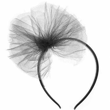 Zwarte verkleed diadeem met tule strik voor meisjes