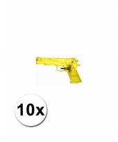 10 gele kleine waterpistooltjes 20 cm trend