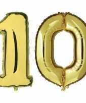 10 jaar gouden folie ballonnen 88 cm leeftijd cijfer trend