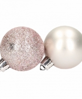 10 lichtroze kerstballen glitter en mat trend