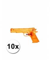10 oranje kleine waterpistooltjes 20 cm trend
