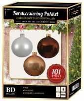 101 stuks kerstballen mix wit beige bruin voor 150 cm boom trend