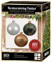 101 stuks kerstballen mix wit beige groen voor 150 cm boom trend