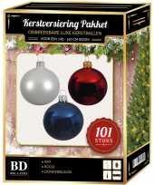 101 stuks kerstballen mix wit blauw rood voor 150 cm boom trend