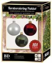 101 stuks kerstballen mix wit donkergroen rood voor 150 cm boom trend
