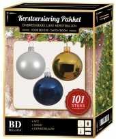 101 stuks kerstballen mix wit goud donkerblauw voor 150 cm boom trend